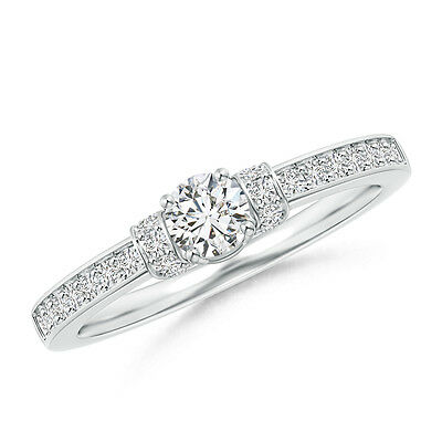 Natural Round Diamond Solitaire Engagement Ring 14k White Gold Size 3-13