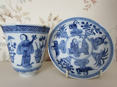 Chinese Antique Kangxi Period Blue & White Long Eliza Pattern Wine Cup & Saucer
