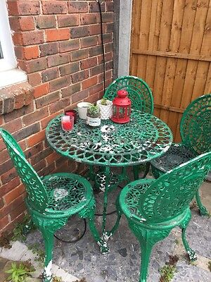 Metal Garden Bistro Style Patio Furniture - 4 Chairs and Round Table