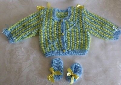 Hand Knitted Preemie / Newborn Blue/Yellow Striped Sweater Booties NEW