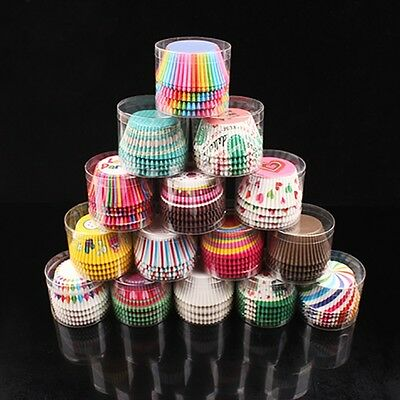 100pcs Colorful Paper Cake Cupcake Liner Case Wrapper Muffin Baking Cups Random