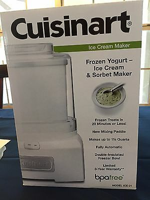 Cuisinart ICE-21 Frozen Yogurt Ice Cream & Sorbet Maker - White  ** BRAND NEW **