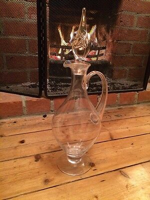 Large Glass Stylish Wine Decanter / Jug With Narrow Neck And Decorative Stopper