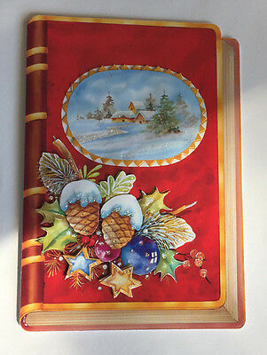 Vintage Used Signed Dutch Decoupage Christmas Card Old-Fashioned Toesewenst Door
