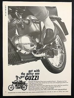1966 Vintage Print Ad 1960s GUZZI Motorcycle B&W Image Transportation
