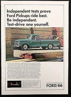 1966 Vintage Print Ad 1960s FORD PICKUP TRUCK Green Transportation Car