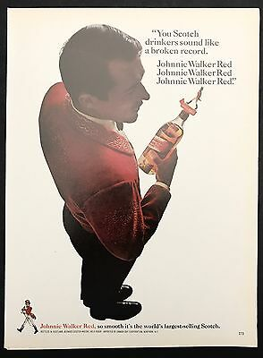 1966 Vintage Print Ad 1960s JOHNNY WALKER RED Scotch Whiskey