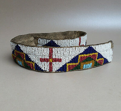 Antique Sioux (Lakota) Beaded Strip, likely Hat Band; circa 1890-1910