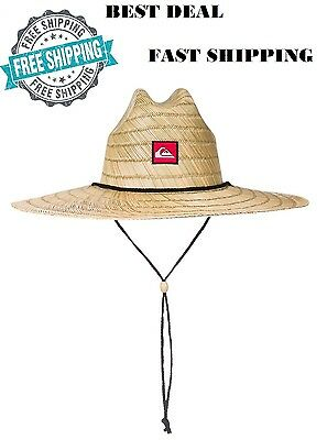 8443dae69d846 Quiksilver Mens Pierside Straw Sun Hat Natural Adjustable Chin  Large X-Large New