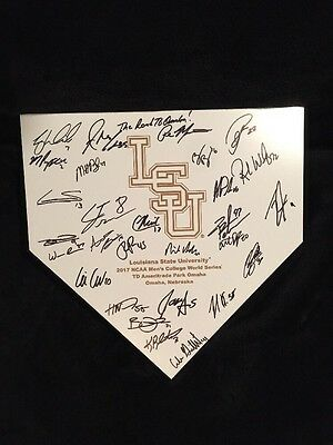 2017 College World Series Signed Home Plate LSU Tigers Team Autographs