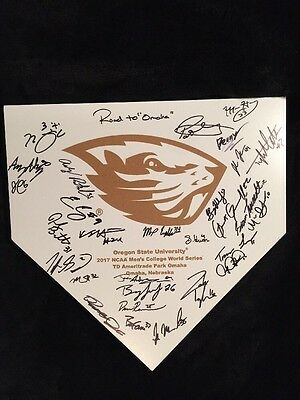2017 College World Series Signed Home Plate Oregon State Beavers Team Autographs