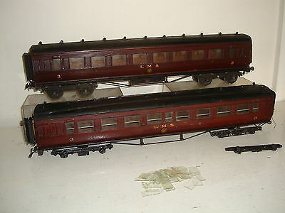 Early LMC/scratch or similar O - 2x LMS Bogie Coaches maroon-spares or repair