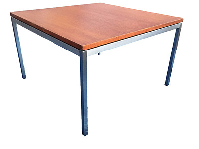 Knoll Chrome and Wood Coffee / Side Office Table Mid Century Modern