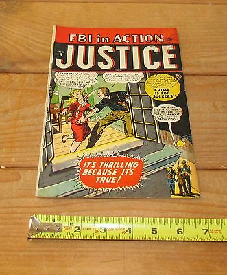 "GOLDEN AGE  "" JUSTICE COMICS ""  Vol. 1 #8 WINTER 1948 THE F.B.I IN ACTION/ VG?"