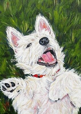 """West Highland Terrier WESTIE MATTED PRINT Painting """"BEING SILLY"""" Dog RANDALL"""