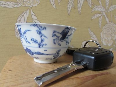 Rare Chinese Antique Qing Dynasty Finely Painted Blue & White Tea Bowl Cup