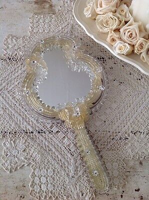 Antique Venetian Murano Glass Hand Mirror