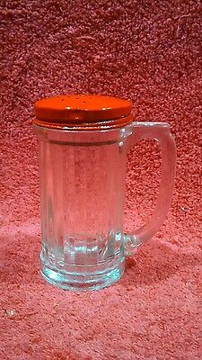 Vintage Ribbed Glass Spice Shaker With Handle