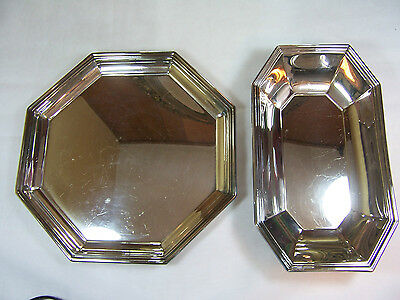 2-pc Octagon WALLACE Silver Plate 5000 5003 PLATTER TRAY & SERVING DISH 11-1/8""