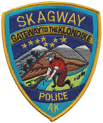 """Skagway Police Alaska Shoulder Patch - 4 1/2"""" tall by 3 3/4"""" wide - NEW"""
