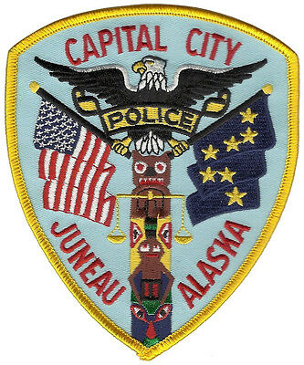 Juneau Police Alaska Shoulder Patch - 5 inches tall by 4 1/8 inches wide