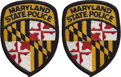 """Hat Size Maryland State Police Patches - Pair - 3""""T by 2 1/4""""W - NEW"""