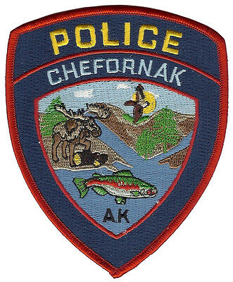 Chefornak Police Alaska Shoulder Patch - 4 1/2 inches tall by 3 3/4 inches wide