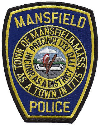 """Mansfield Police Massachusetts Shoulder Patch - 4 5/8"""" tall by 3 3/4"""" wide - NEW"""