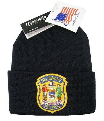 Delaware State Police Patch Knit Cap - 40g Thinsulate Insulation - Navy Blue