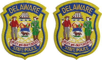 "Hat Size Delaware State Police Patches - Pair - 3""T by 2 1/2""W - NEW"