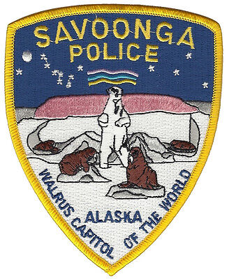 Savoonga Police Alaska Shoulder Patch - 4 3/4 inches tall by 3 3/4 inches wide