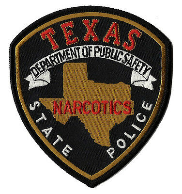 """Texas State Police Narcotics Shoulder Patch - 4 1/4"""" tall by 3 3/4"""" wide - NEW"""
