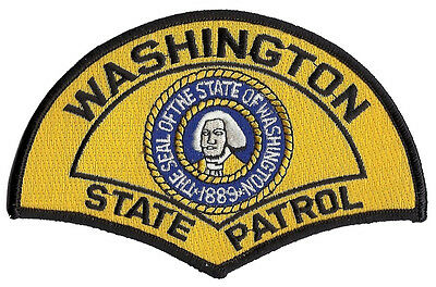 """Washington State Patrol Shoulder Patch - 5 3/8"""" tall by 3 1/2"""" wide - NEW"""