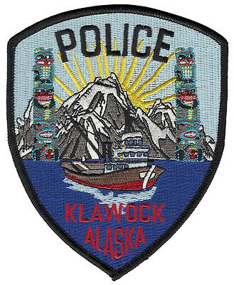 Klawock Police Alaska Shoulder Patch - 5 inches tall by 4 1/8 inches wide