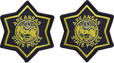 "Hat Size Arkansas State Police Patches - Pair - 3"" tall by 3"" wide - NEW"