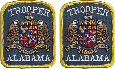 """Hat Size Alabama Trooper Patches - Pair - 3 1/8"""" tall by 2 1/2"""" wide - NEW"""