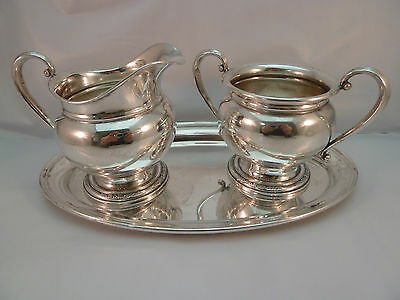 Courtship International Sterling Creamer Sugar C154 & Sterling Gorham Tray 124