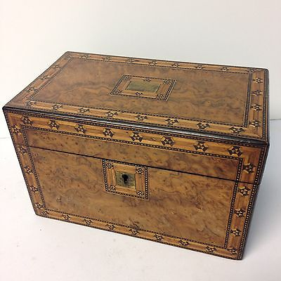 Antique 19th Century Fine Quality Inlaid Burr Walnut Tea Caddy