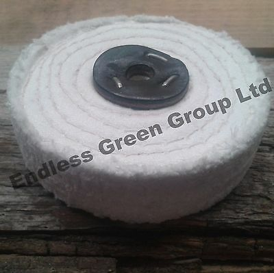 "4"" Stitched Cotton Buffing Wheel 100 x 25mm Polishing Mop ideal for drill C100/2"