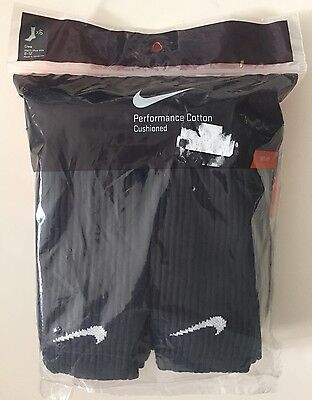 Nike Mens Black Crew Socks Cotton Cushioned 6 Pairs Size 8-12 NEW FREE Shipping!