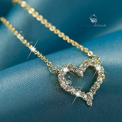 18K Yellow Gold Gp Made With Swarovski Crystal Love Heart Pendant Necklace