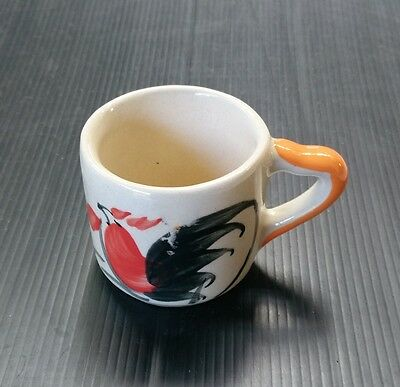 Thai Style Small Cup Ceramic Pottery Painting Molding Crafts Chicken Picture Or