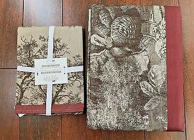 "WILLIAM SONOMA Heritage Turkey Jacquard TABLECLOTH 126"" 2 TOWELS Thanksgiving NW"