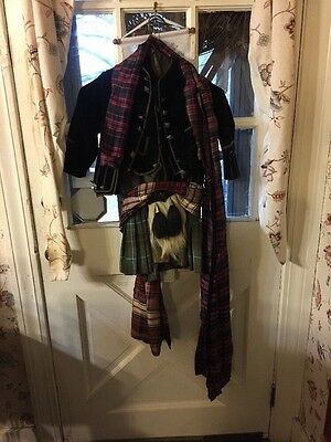 Antique Boy's tartan outfit. Mid-1800's, Child. Vintage Clothing Scottish