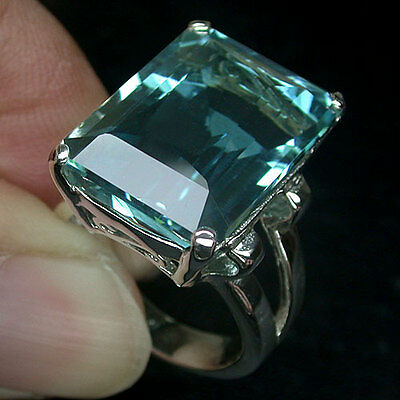 925 Sterling Silver 25.6 ct Emerald Cut Aquamarine Ring Size O White Gold Plate