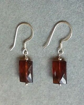 1950s VINTAGE  brown glass earrings - NEW 925 SOLID STERLING SILVER - hooks