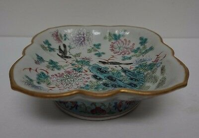 Vintage Chinese Hand Painted Porcelain Famille Footed Bowl Signed 6""