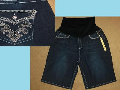 NWT 2X Maternity Bermuda Jean Shorts Bling Pockets Embellished Plus Size Summer