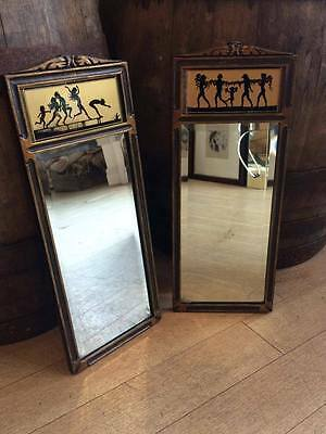 Pair of Art Deco FIDUS Tallimit Four Seasons Nymph Silhouettes Hanging Mirrors
