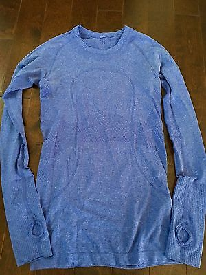 lululemon blue   run swiftly shirt LS top yoga  size 4